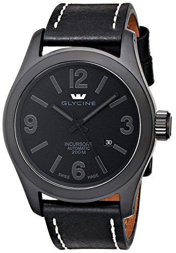 Glycine Men's 3874-999-LB9B 'Incursore' Stainless Steel Automatic Watch with Black Leather band