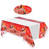 2 pack Cars Themed Birthday Party Decorations – Disposable Cars Plastic Tablecloth Disposable Table Cover   Cars Party Supplies for Kids