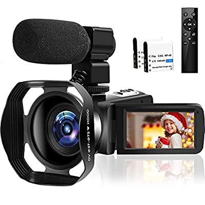 4K HD Camcorder 48MP 30FPS 18X Digital Zoom Video Camera for YouTube Camcorder 3.0 inch Touch Screen IR Night Vision with External Microphone (V4P) from SEREER