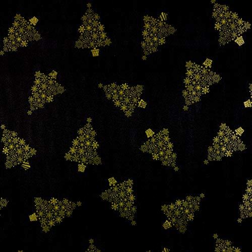 Jolee Fabrics Mantel de Navidad – Mantel de vinilo de PVC fácil de limpiar, color negro y dorado copo de nieve, árbol de Navidad, mantel de vinilo PVC, 140 cm x 200 cm de largo)