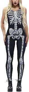 DEATU Halloween Costumes Women Jumpsuit Ladies Casual Sexy Bone Print Fashion Sling Slim Jumpsuit