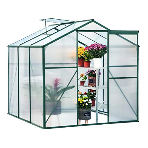 U-MAX Greenhouse Polycarbonate Outdoor Garden Greenhouse Walk-in Portable 6'(L) x6'(W) x6.6'(H) Adjustable Roof Hot House