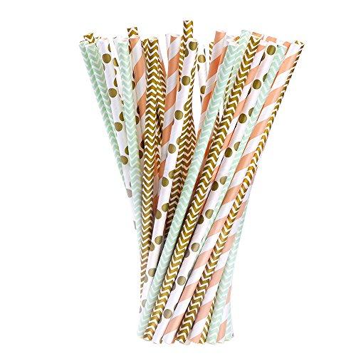 Papier Trinkhalme für Geburtstage, Hochzeiten, Weihnachten, Feiern und Partys, Gold, Grün und Orange, 100Stück