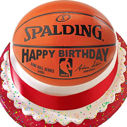 Kuchendekoration Basketball Happy Birthday, 19,1 cm, vorgeschnitten, essbar