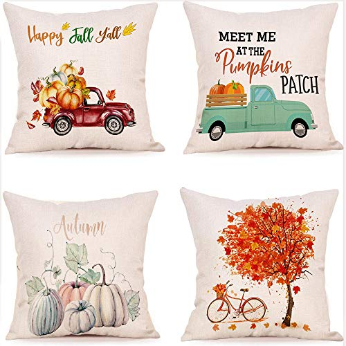 Fall Pillow Cover,Fall Harvest Pillow Cases,Holiday Decorative Pillow Covers,Pumpkin Patch Throw Pillow for Sofa Couch 18x18 Inches Cotton Linen, Set of 4 (Fall Harvest)