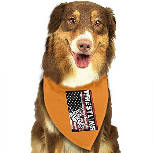 Strawberryran USA Flagge Wrestling Hund Katze Bandanas-1pc Waschbare Dreieck Lätzchen Halstücher Schal Halstuch