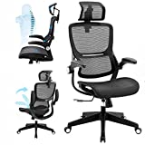 SAMOFU Office Chair Ergonomic Desk Chair Mesh Computer Chair with 3D Lumbar Support, Adjustable Headrest and Flip up Arms,Technical Task Swivel Executive High Back Home Office Chair (Black)
