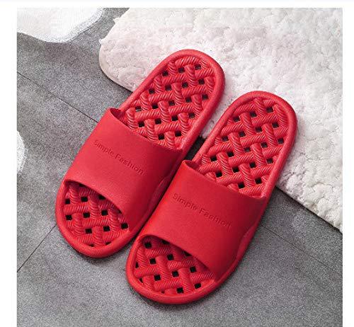 Interior al Aire Libre Verano Zapatillas,Zapatillas de Masaje de Fugas caseras, baño Antideslizante-Rojo_36-37,Zapatillas de baño Unisex