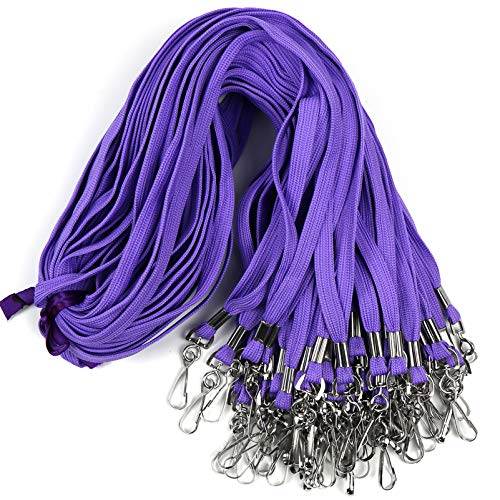 Lanyard 50PCS Lanyards with Swivel Hook Clips for ID Name Badge Holder (Purple)