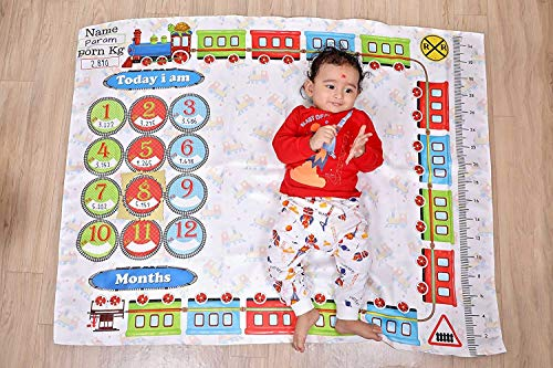 All India® Baby Monthly Milestone Blanket - Newborn to 12 Months Milestones, Baby Shower Gift (Theme - Car Race) Multi Colour (Train)