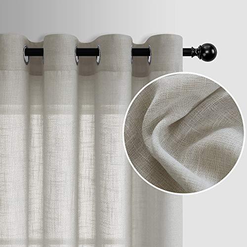 Tan Semi Sheer Curtains 84 Inches Long for Bedroom 2 Panels Grommet Light Filtering Natural Linen Woven Floor Length Drapes for Living Room Closet Doors Neutral Burlap Rustic Decor 52x84 Length Brown