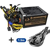 HVVH 20+4 Pin Silent Noise Reduction Miner/PC GPU ATX 1600W Power Supply 87 Plus Gold Designed for US Voltage 110V 1600w Mining ETH PSU Max Support 8 Graphics with 1.5m US Plug Adapter Cable