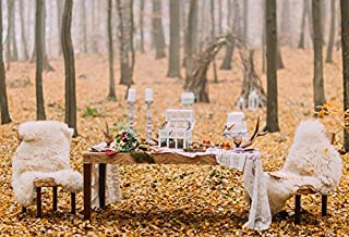 Baocicco Arch for Wedding Autumn Grove Backdrop 8x6.5ft Photography Background Thick Fallen Leaves Wooden Cake Table Flower Bouquet Fuzzy Carpet Old Lantern Rustic Wedding Ceremony
