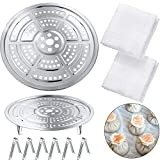 2 Pieces 11 Inch and 10 Inch Pressure Cooker Canner Rack Stainless Steel Canning Racks with 2 Pieces 20 x 20 Inch Square Muslin Pure Cotton Cloth for Pressure Canner, Food Steam Basket Rack
