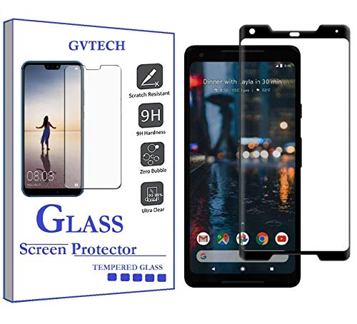 GVTECH Screen Protector for Google Pixel 2 XL, [1 Pack] Full Coverage Tempered Glass Screen Protector [3D Round Edge][9H Hardness][Crystal Clear][Scratch Resist] for Google Pixel 2 XL(Black)