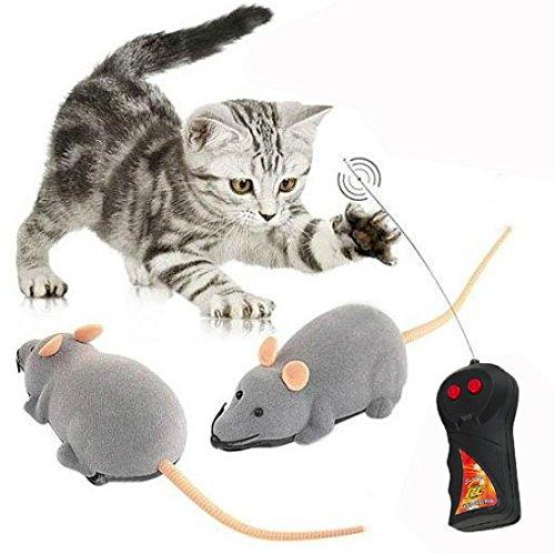 Cisixin Juguete Rata Gato con Control Remoto Inalámbrico para Gatos Perros Animales Domésticos Kid (Gris)