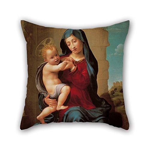 masoyy 20x 20pulgadas/50por 50cm pintura al óleo Giuliano Bugiardini-Virgen y niño manta fundas de almohada de ambos lados adorno y banco de regalo para su adultos Gril amigo salón Teens