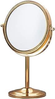 化粧鏡 卓上化粧鏡/ポータブル両面ミラー/ 2Xと拡大スポットミラー/ホームアンドホテルのために360°回転 (色 : ゴールド, サイズ : 17cm)