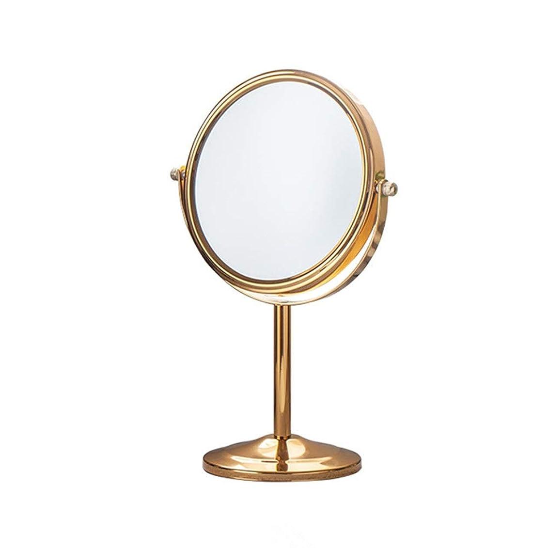 直感タッチ消去化粧ミラー 鏡 卓上化粧鏡/ポータブル両面ミラー/ 2Xと拡大スポットミラー/ホームアンドホテルのために360°回転 浴室鏡 (色 : ゴールド, サイズ : 17cm)