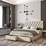 Boyd Sleep Verona Upholstered Platform Bed Frame Mattress Foundation with Headboard, Dual Front Storage Drawers, and Strong Wood Slat Supports: Button Tufted Faux Leather, White, Queen