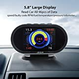 OBD2 Gauge HUD Heads Up Display, Car Computer OBDii Scanner Speed Engine Coolant Temperature Fuel Consumption Digital Speedometer Mileage Overspeed Voltage Faulty Code Alarms