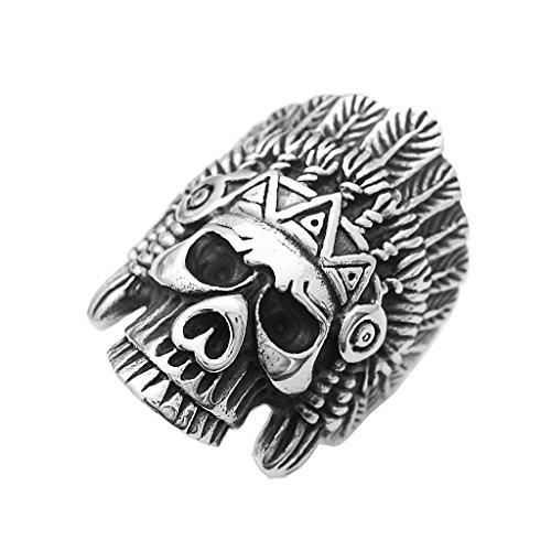 freneci Moda Classic Biker Indian Chief Head Skull Bisutería Plata - Plata, US 8