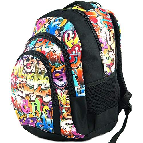 Mochila Escolar Grande para niños y niñas (39 litros), Premium - yeepSport S119dx (Graffiti)