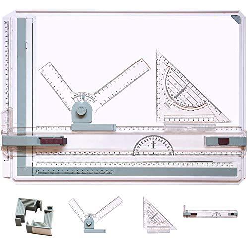 NOTENS Planche à dessin A3, table à dessin multifonction A3 avec mouvement parallèle et angle réglable, système métrique, outils de dessin techniques, art architectural, graphique
