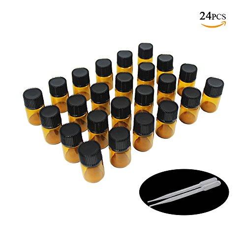 Yizhao Ambar Botellas de Aceite esencial de Vidrio Vacías 2ml,con Reductor de Orificio y Tapa,Para Aceites Esenciales, Aromaterapia,Perfumes,Masajes,Laboratorio de Química – 24 Pcs