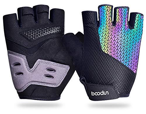 Migimi Fahrradhandschuhe, Radsport Handschuhe Sommer Halbfinger Gel Stoßdämpfende MTB Handschuhe, Anti-Rutsch Bunt Reflektierend Mountainbike Handschuhe für Herren & Damen