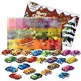 LIHAO Calendario dell'Avvento 24 Pezzi Mini Auto Giocattolo Auto per Natale Regalo per Bambini Ragazzi Ragazze