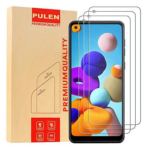 [3 Stück] PULEN Panzerglas Schutzfolie für Samsung Galaxy A21S , 9H Glas Display schutzfolie [Anti-Kratzen] [Bubble-frei][Fingerabdruck-frei] HD Klar folie