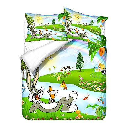 Probuk Bugs Bunny – Juego de cama 100% microfibra, funda nórdica Anime para niños y niñas, con funda de almohada (A-05,220 x 240 cm (50 x 75 cm)