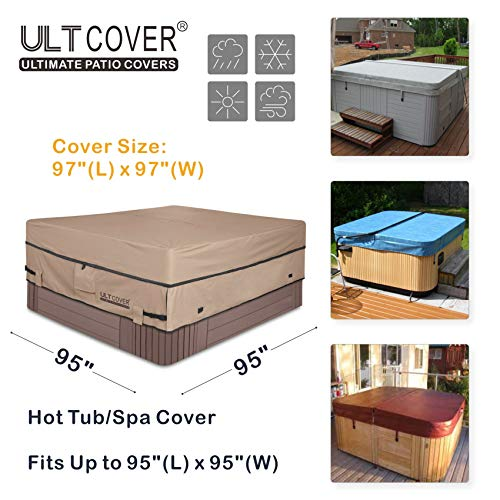 ULTCOVER Waterproof 600D Polyester Square Hot Tub Cover Outdoor SPA Covers 95 x 95 inch