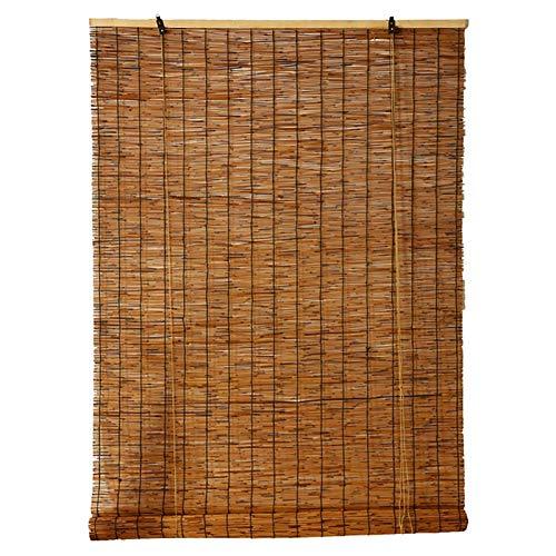 MY1MEY Persianas Romanas Retro, Cortina de Caña, Cortina de Paja,Estores de Bambú, Persianas Enrollables de Bambú,Cortinas Opacas, para Exteriores Interiores(110x240cm/43x95in)
