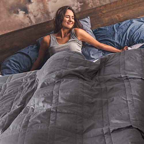 King Size Weighted Blanket 20lbs(88''x104'', Grey), King Weighted Blanket for Adults with 100% Soft Cotton and Glass Beads - Carry Bag Included