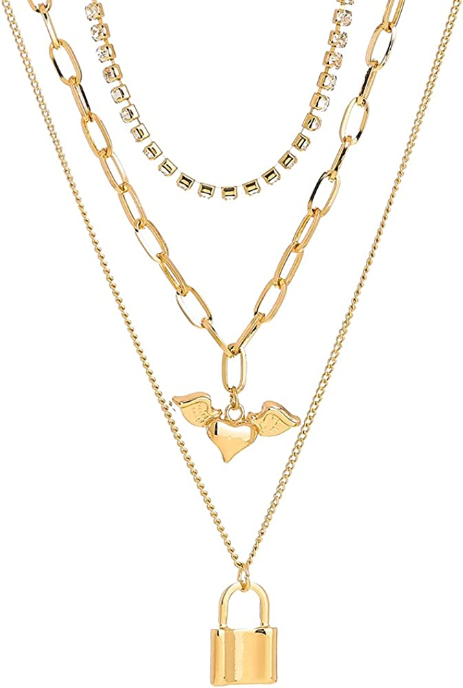 Dainty Layered Choker Necklace, 3 Layer Necklaces for Women Girls, Adjustable Layering Chain Gold Plated Necklaces Punk Chunky Chain Necklace Pendant Jewelry Gift for Women