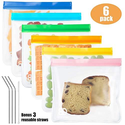Reusable Sandwich Bags (6-pack Large Size),Wattne Reusable Leakproof Ziplock Kids Snack Bags, FDA Grade PEVA Biodegradable Storage Baggies for Food, Lunch, Make-up ( + 3 Metal Straws + 1 Straw Brush)