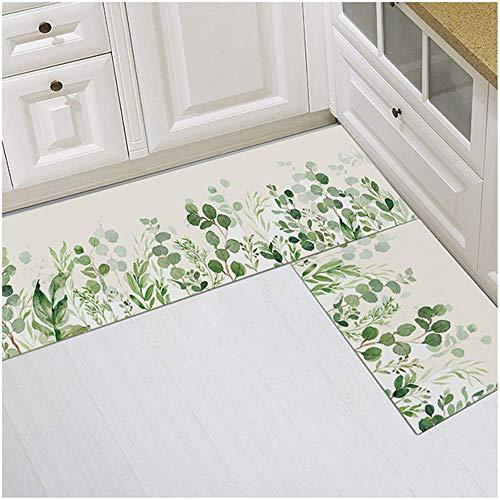 MLKUP Polyester Carpet Cartoon Plant Printing Water-Absorbing Anti-Slip Mat Home Kitchen Bathroom Decorative Carpet 40x60cm
