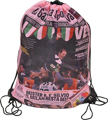 FIORI PAOLO Gazzetta dello Sport Sacca, Poliestere, Rosa/Bianco/Nero, 49 cm