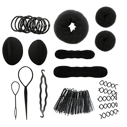 MapofBeauty Monochrome Cheveux Styling Kit Hairdresser Magic Cheveux Clip Styling Pads Foam Sponge Bun Donuts Cheveux Clip Tools (Noir)