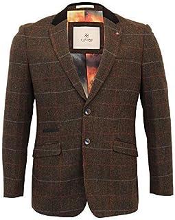 Cavani Mens Wool Mix Tweed 3 Piece Suit Blazer Waistcoat Trouser Peaky Blinders
