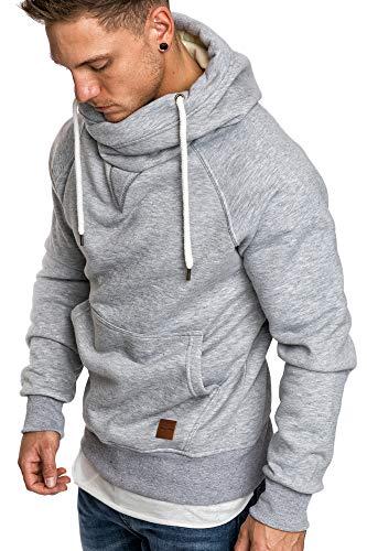 Amaci&Sons Herren Turtle-Neck Kapuzenpullover Sweatjacke Pullover Hoodie Sweatshirt 4025 Hellgrau XL
