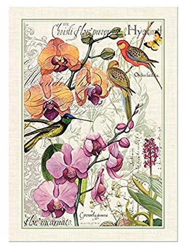 Michel Design Works Cotton Kitchen Dish Towel, Orchids in Bloom