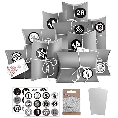 Dusor Adventskalender zum Befüllen, 24 Geschenkbeutel mit Zahlen Sticker, Weihnachten Papiertüten, Weihnachtskalender Bastelset für Weihnachts Kindergeburtstag Hochzeiten(Grau)