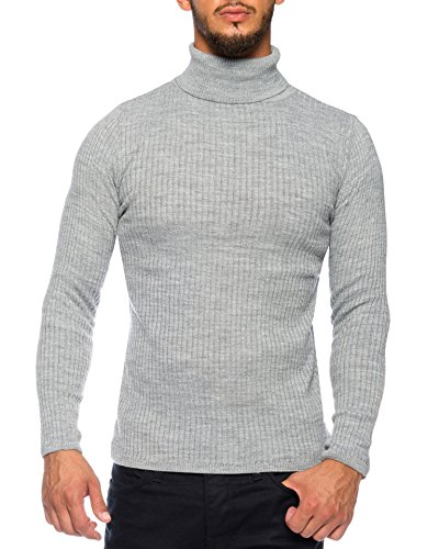 Karl's people Herren Feinstrick Rollkragenpullover in verschieden Farben K-107, Größe L, Farbe Grey
