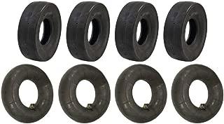 Set of (4) 4.10 x 3.50-5 Tube Type Slicks and (4) 4.10 x 3.50-5 L-Stem Tubes Go-Kart Go-Cart GoKart Gocart Bar Stool Racer Tires