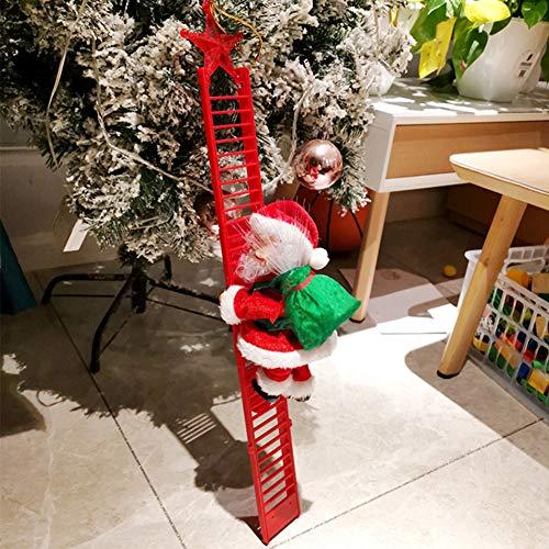Climbing Ladder Santa with Jingle Bells Music, Allnice Christmas Decorations Christmas Tree Ornament Ladder-Climbing Santa Claus
