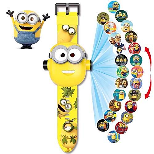 Relojes de Juguete para niños, Relojes electrónicos con Tiempo de visualización y proyección de Dibujos Animados, adecuados para Regalos para niños y niñas, pequeños y Bonitos (Minions)