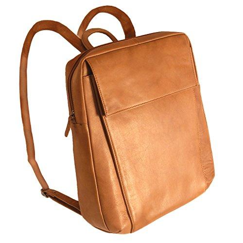 Branco Eleganter Lederrucksack Größe M, Laptop-Rucksack bis 14 Zoll, für Damen und Herren, Cognac-Braun, br171
